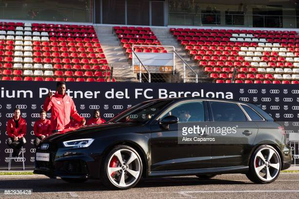 Ousmane Dembele of FC Barcelona is presented with his new Audi car during the Audi Car handover to the players of FC Barcelona on November 30 2017 at...