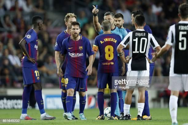 Ousmane Dembele of FC Barcelona Ivan Rakitic of FC Barcelona Lionel Messi of FC Barcelona Andres Iniesta of FC Barcelona referee Damir Skomina Gerard...