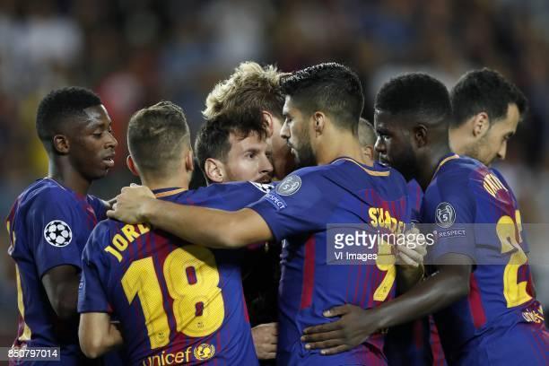 Ousmane Dembele of FC Barcelona, Jordi Alba of FC Barcelona, Lionel Messi of FC Barcelona, Ivan Rakitic of FC Barcelona, Luis Suarez of FC Barcelona,...