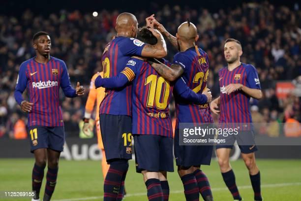Ousmane Dembele of FC Barcelona Kevin Prince Boateng of FC Barcelona Lionel Messi of FC Barcelona Arturo Vidal of FC Barcelona celebrate goal during...