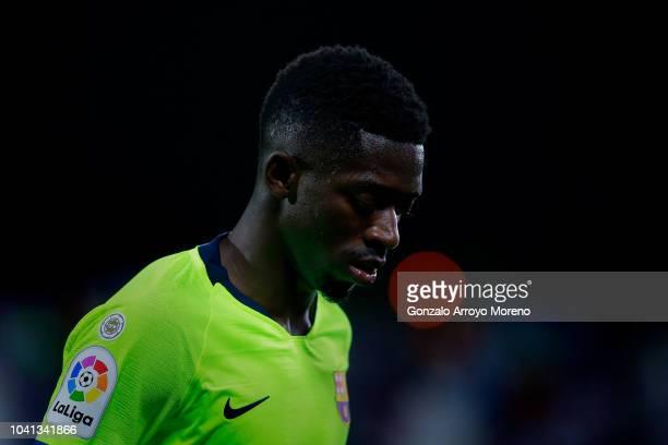 Ousmane Dembele of FC Barcelona looks dejected during the La Liga match between CD Leganes and FC Barcelona at Estadio Municipal de Butarque on...