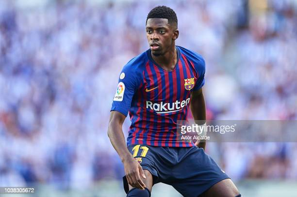 Ousmane Dembele of FC Barcelona looks on during the La Liga match between Real Sociedad and FC Barcelona at Estadio Anoeta on September 15 2018 in...