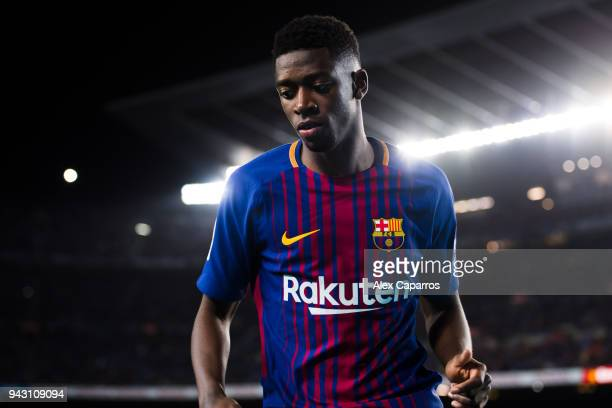 Ousmane Dembele of FC Barcelona looks on during the La Liga match between Barcelona and Leganes at Camp Nou on April 7 2018 in Barcelona Spain
