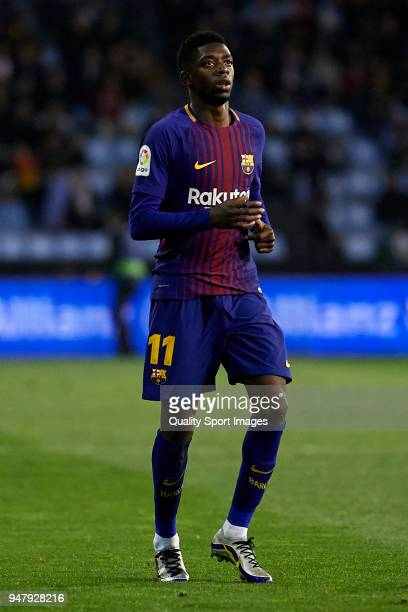 Ousmane Dembele of FC Barcelona looks on during the La Liga match between Celta de Vigo and Barcelona at Balaidos Stadium on April 17 2018 in Vigo...