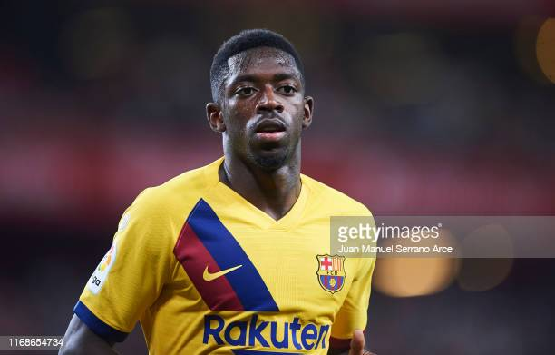 Ousmane Dembele of FC Barcelona looks on during the Liga match between Athletic Club and FC Barcelona at San Mames Stadium on August 16, 2019 in...