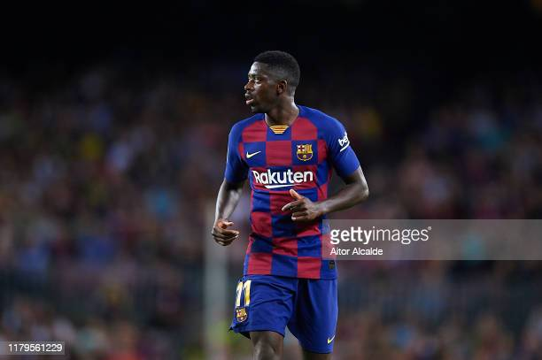 Ousmane Dembele of FC Barcelona looks on during the Liga match between FC Barcelona and Sevilla FC at Camp Nou on October 06, 2019 in Barcelona,...