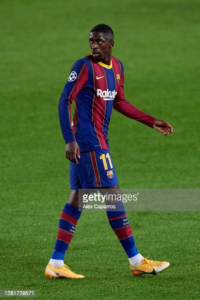 Ousmane Dembele of FC Barcelona looks on during the UEFA Champions League Group G stage match between FC Barcelona and Ferencvaros Budapest at Camp...