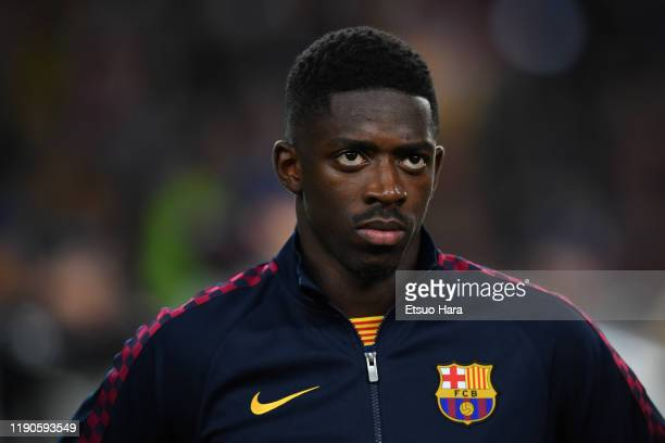 Ousmane Dembele of FC Barcelona looks on prior to the UEFA Champions League group F match between FC Barcelona and Borussia Dortmund at Camp Nou on...
