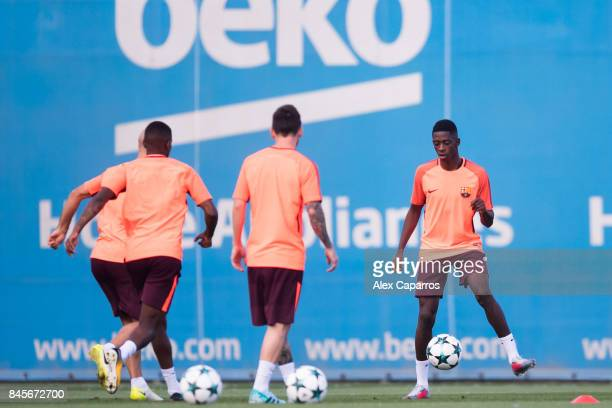 Ousmane Dembele of FC Barcelona plays the ball during a training session ahead of the UEFA Champions League Group D match against Juventus on...