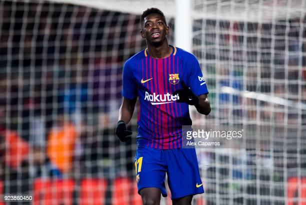Ousmane Dembele of FC Barcelona reacts during the La Liga match between Barcelona and Girona at Camp Nou on February 24 2018 in Barcelona Spain
