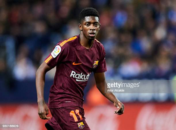 Ousmane Dembele of FC Barcelona reacts during the La Liga match between Malaga and Barcelona at Estadio La Rosaleda on March 10 2018 in Malaga Spain