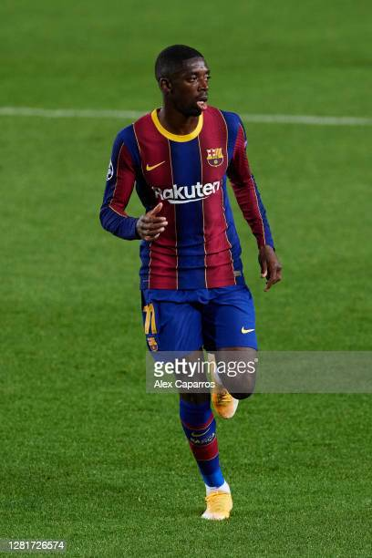 Ousmane Dembele of FC Barcelona runs during the UEFA Champions League Group G stage match between FC Barcelona and Ferencvaros Budapest at Camp Nou...