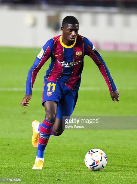 Ousmane Dembele of FC Barcelona runs with the ball during the La Liga Santander match between FC Barcelona and Villarreal CF at Camp Nou on September...