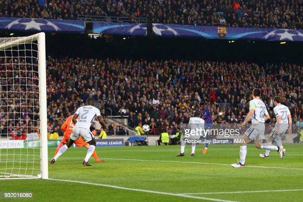 Ousmane Dembele of FC Barcelona scores a goal to make it 20 during the UEFA Champions League Round of 16 Second Leg match FC Barcelona and Chelsea FC...