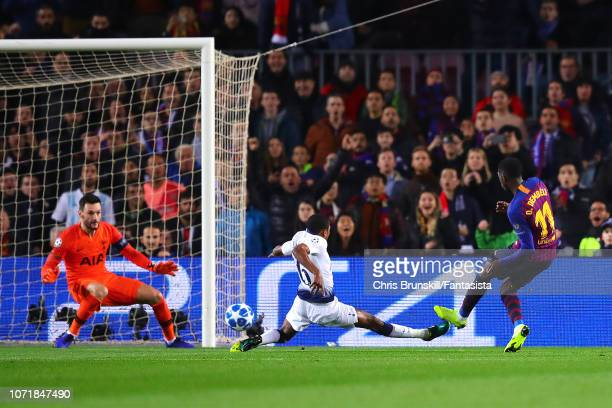 Ousmane Dembele of FC Barcelona scores his side's first goal during the UEFA Champions League Group B match between FC Barcelona and Tottenham...