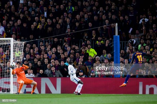 Ousmane Dembele of FC Barcelona scores his team's second goal during the UEFA Champions League Round of 16 Second Leg match between FC Barcelona and...