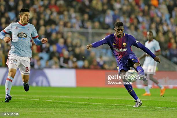 Ousmane Dembele of FC Barcelona scores the first goal to make it 01 during the La Liga Santander match between Celta de Vigo v FC Barcelona at the...