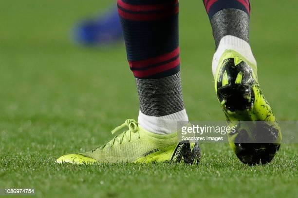 Ousmane Dembele of FC Barcelona shoes Abdelhak Nouri during the La Liga Santander match between FC Barcelona v Leganes at the Camp Nou on January 20...
