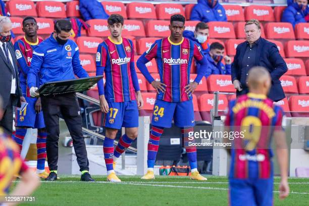 Ousmane Dembele of FC Barcelona, Trincao of FC Barcelona, Junior Firpo of FC Barcelona, coach Ronald Koeman of FC Barcelona during the La Liga...
