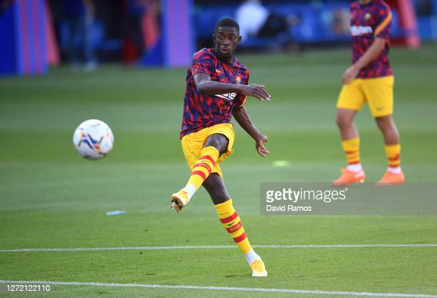 Ousmane Dembele of FC Barcelona warms up prior to the during the pre-season friendly match between FC Barcelona and Gimnastic de Tarragona at Estadi...