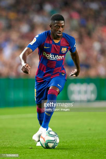 Ousmane Dembele of FC Barcelona with the ball during the Liga match between FC Barcelona and Villarreal CF at Camp Nou on September 24, 2019 in...