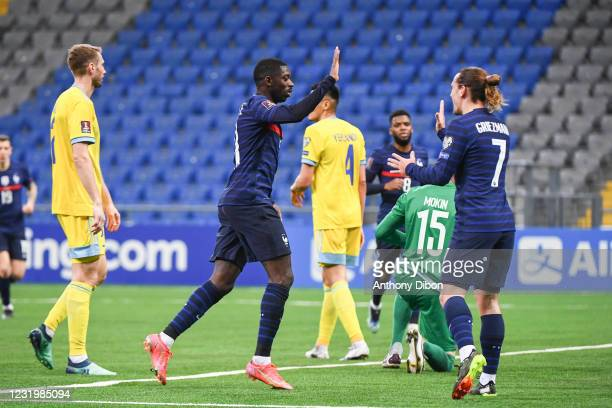 Ousmane DEMBELE of France celebrates a goal with Antoine GRIEZMANN of France during the Qualifying World Cup match between Kazakhstan and France at...
