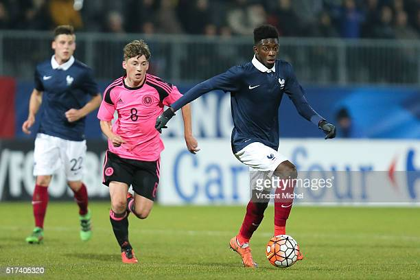 Ousmane Dembele of France during the Uefa U21 European Championship qualifier between France and Scotland at Stade Jean Bouin on March 24 2016 in...
