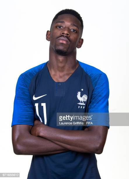 Ousmane Dembele of France poses for a portrait during the official FIFA World Cup 2018 portrait session at the Team Hotel on June 11 2018 in Moscow...