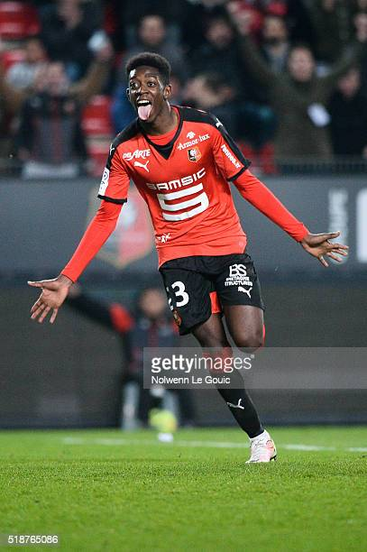 Ousmane Dembele of Rennes celebrates his second goal during the French Ligue 1 match between Stade Rennais v Stade de Reims at Stade de la Route de...