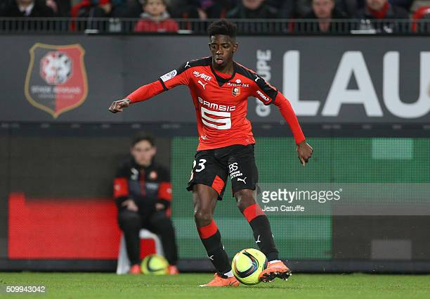 Ousmane Dembele of Rennes in action during the French Ligue 1 match between Stade Rennais FC and SCO Angers at Roazhon Park stadium on February 12...