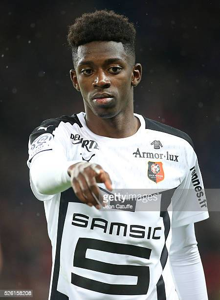Ousmane Dembele of Rennes reacts during the French Ligue 1 match between Paris SaintGermain and Stade Rennais FC at Parc des Princes stadium on April...