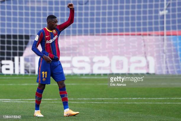 Ousmane Dembélé of FC Barcelona celebrates scoring his side's first goal during the La Liga Santander match between FC Barcelona and Real Betis at...