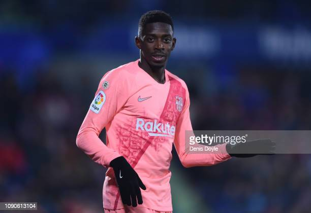 Ousmane Dembele of FC Barcelona looks on during the La Liga match between Getafe CF and FC Barcelona at Coliseum Alfonso Perez on January 06 2019 in...