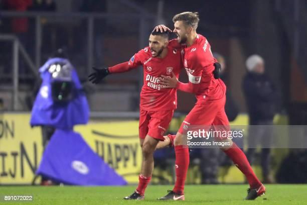 Oussama Assaidi of FC Twente celebrates 01 with Stefan Thesker of FC Twente during the Dutch Eredivisie match between NAC Breda v Fc Twente at the...