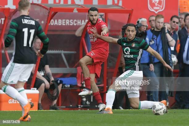 Oussama Assaidi of FC Twente Sofyan Amrabat of Feyenoord during the Dutch Eredivisie match between Fc Twente v Feyenoord at the De Grolsch Veste on...