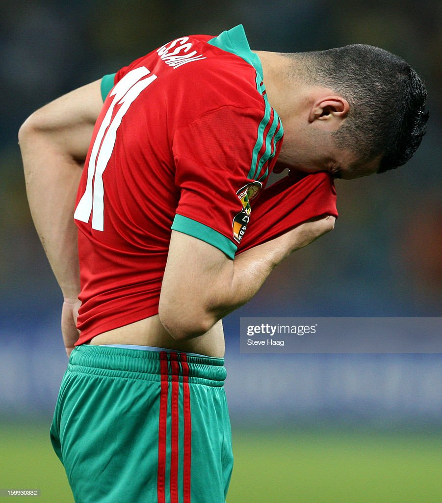 Oussama Assaidi of Morocco reacts after being hit in the face with the ball during the 2013 African Cup of Nations match between Morocco and Cape Verde at Moses Mahbida Stadium on January 23, 2013 in Durban, South Africa.