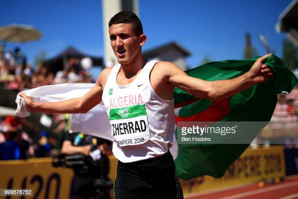 Oussama Cherrad of Algeria celebrates winning bronze in the final of the men's 800m but is later disqualified on day six of The IAAF World U20...
