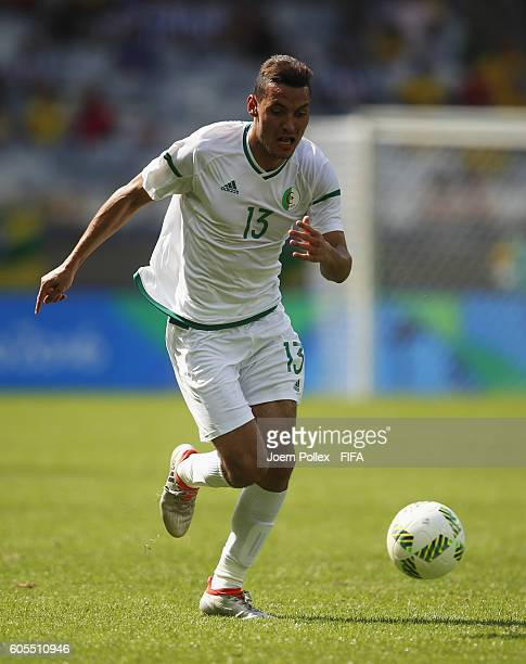 Oussama Darfalou of Algeria controls the ball during the Men's Group D match between Algeria and Portugal on Day 5 of the Rio2016 Olympic Games at...