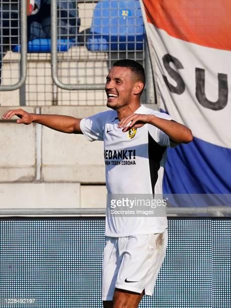 Oussama Darfalou of Vitesse celebrates 0-1 during the Dutch Eredivisie match between RKC Waalwijk v Vitesse at the Mandemakers Stadium on September...