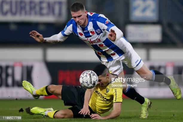 Oussama Darfalou of VVV Venlo, Sven Botman of SC Heerenveen during the Dutch Eredivisie match between SC Heerenveen v VVV-Venlo at the Abe Lenstra...