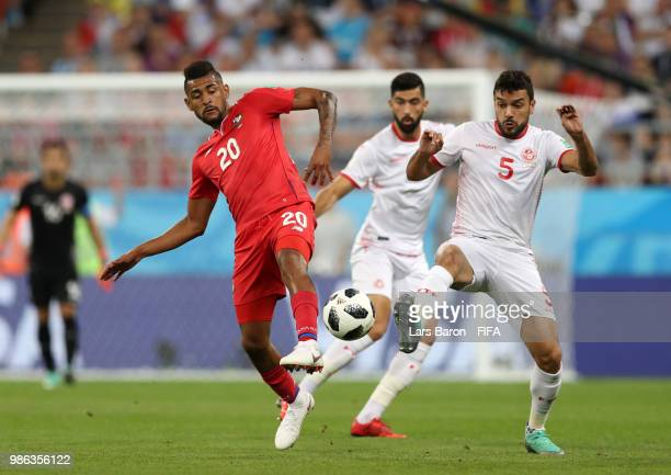 Oussama Haddadi of Tunisia challenge for the ball with Anibal Godoy of Panama during the 2018 FIFA World Cup Russia group G match between Panama and...