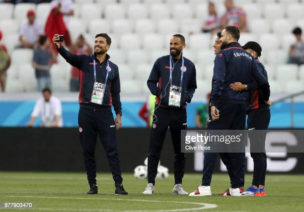 Oussama Haddadi of Tunisia takes a selfie during a pitch inspection prior to the 2018 FIFA World Cup Russia group G match between Tunisia and England...