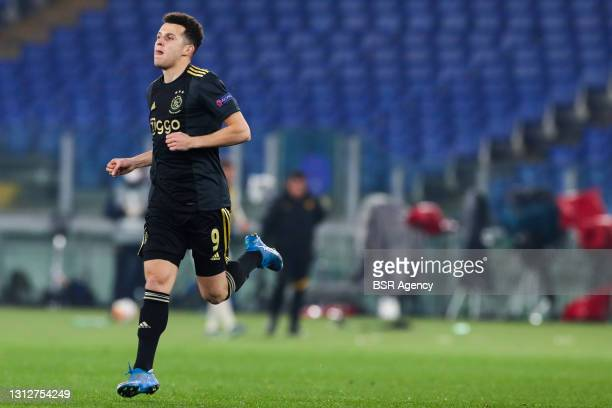 Oussama Idrissi of Ajax during the UEFA Europa League Quarter Final: Leg Two match between AS Roma and Ajax at Stadio Olimpico on April 15, 2021 in...