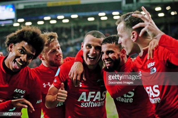 Oussama Idrissi of AZ Alkmaar celebrates 0-2 with Calvin Stengs of AZ Alkmaar, Fredrik Midtsjo of AZ Alkmaar, Adam Maher of AZ Alkmaar, Mats...