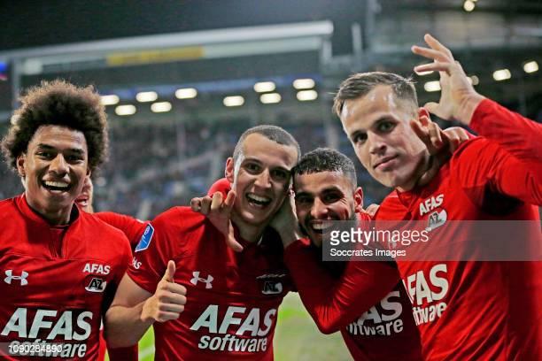 Oussama Idrissi of AZ Alkmaar celebrates 0-2 with Calvin Stengs of AZ Alkmaar, Adam Maher of AZ Alkmaar, Mats Seuntjens of AZ Alkmaar during the...