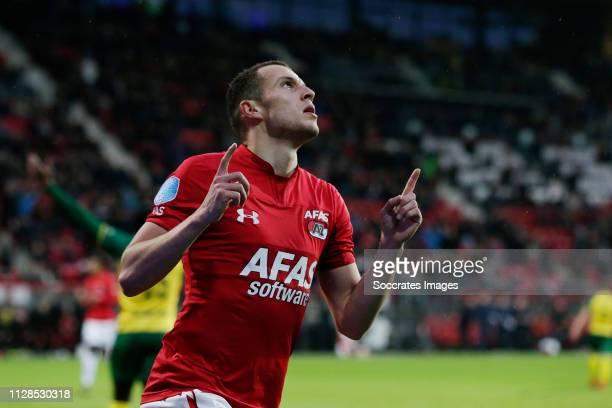 Oussama Idrissi of AZ Alkmaar Celebrates 3-2 during the Dutch Eredivisie match between AZ Alkmaar v Fortuna Sittard at the AFAS Stadium on March 3,...