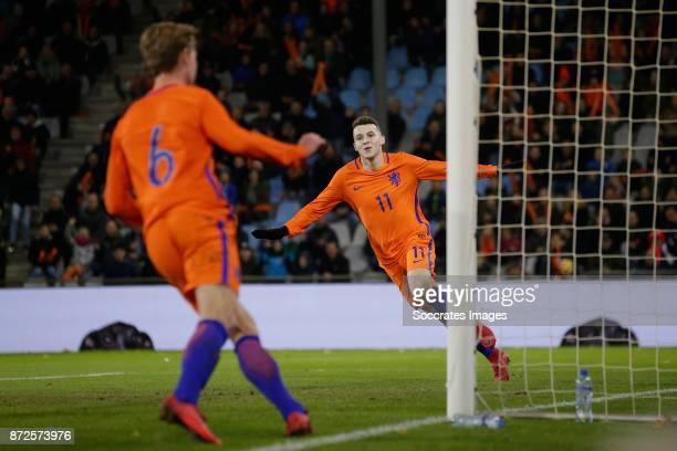 Oussama Idrissi of Holland U21 celebrate 30 during the match between Holland U21 v Andorra U21 at the De Vijverberg on November 10 2017 in Doetinchem...