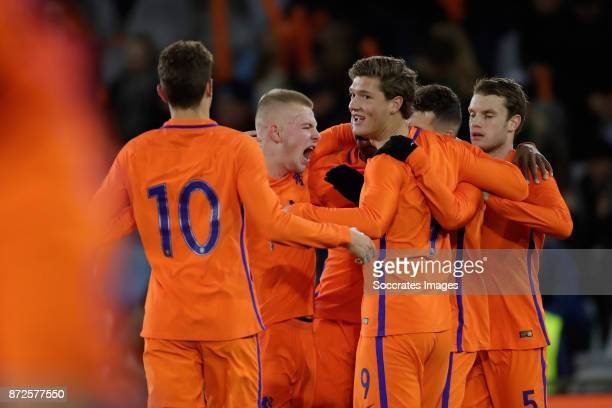 Oussama Idrissi of Holland U21 celebrate 30 with Rick van Drongelen of Holland U21 Sam Lammers of Holland U21 Thomas Ouwejan of Holland U21 during...