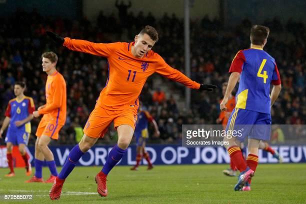 Oussama Idrissi of Holland U21 celebrates 40 during the match between Holland U21 v Andorra U21 at the De Vijverberg on November 10 2017 in...
