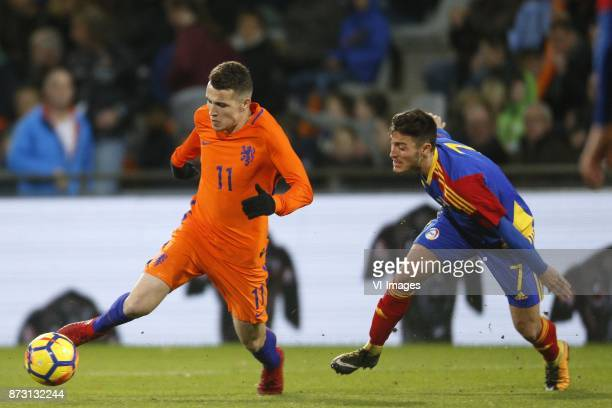 Oussama Idrissi of Jong Oranje Alex Martinez of Jong Andorra during the EURO U21 2017 qualifying match between Netherlands U21 and Andorra U21 at the...